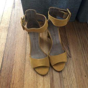 Mustard yellow suede block heels